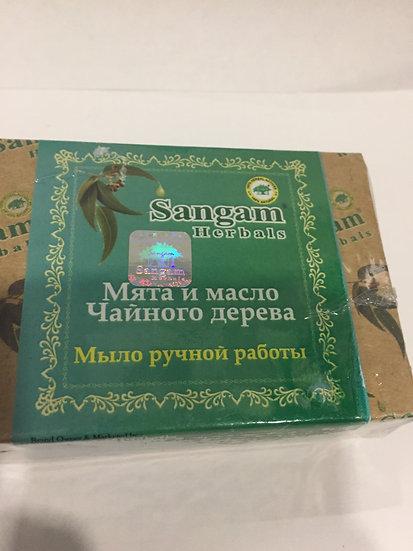 Мыло сангам ручной работы Мята и масло Чайного дерева