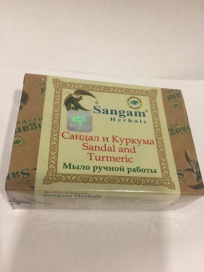 Мыло сангам ручной работы Сандал и Куркума