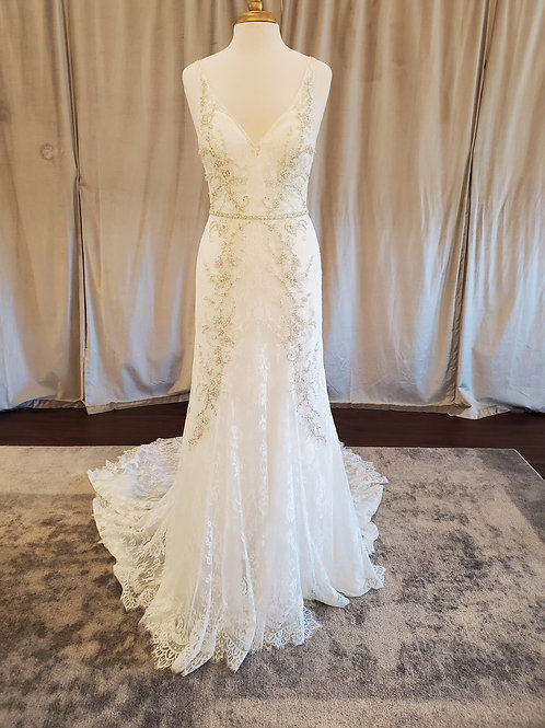 Justin Alexander Signature #9872 Lace V-neck fit and flare with accent beading