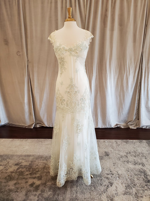 "Claire Pettibone ""Cameo"" unique vintage-inspired gown with aquamarine detailing"