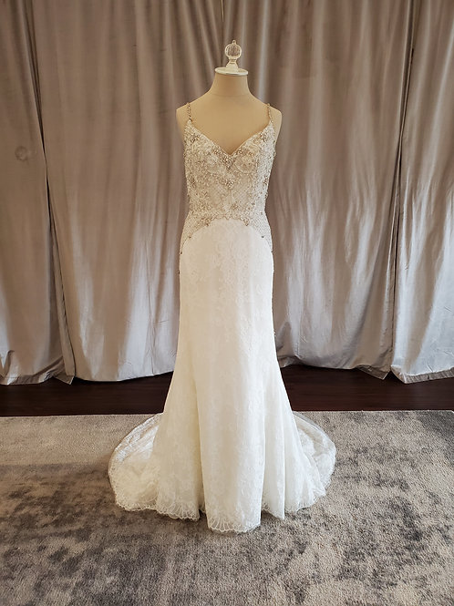 Alvina Valenta #9615 Sheath gown with beading and lace