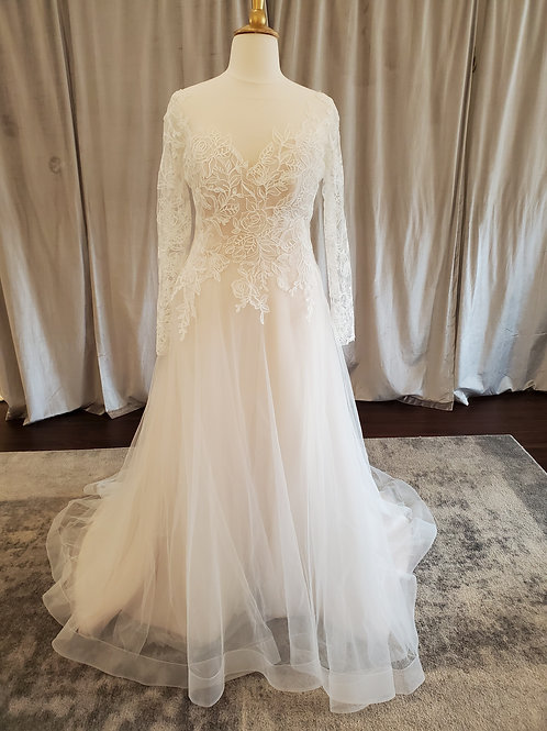 "Rebecca Ingram ""Rina"" long sleeved lace A-Line gown"