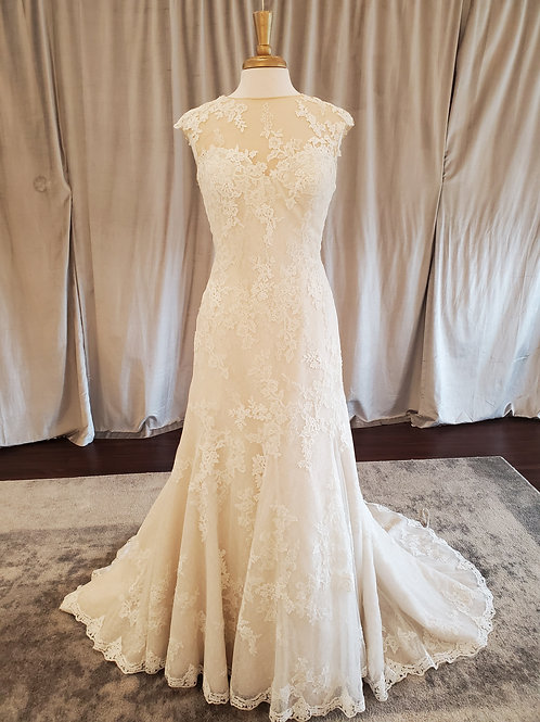"""Pronovias """"Pladie"""" Lace fit and flare gown with Bateau illusion neck"""