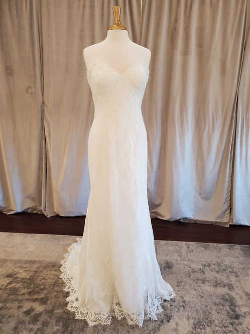 Nicole Spose #NIAB19031 Lace sheath gown with sweetheart neckline