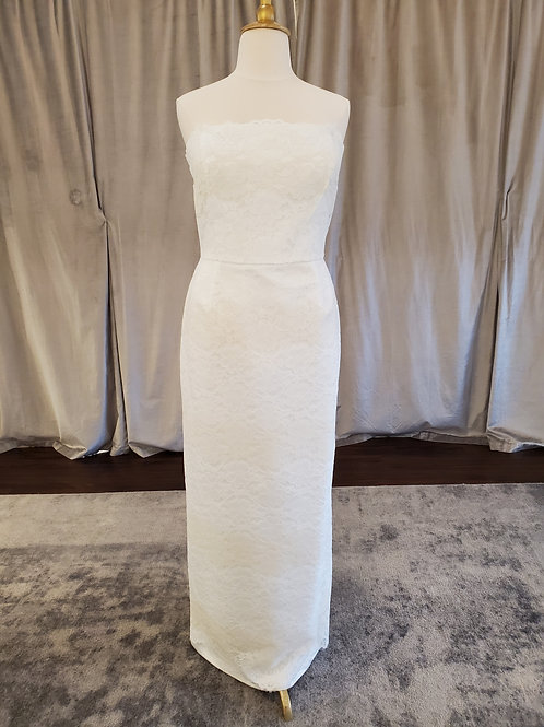 """Madeleine Fig """"Chelsea"""" Sheath gown with contrast lace"""