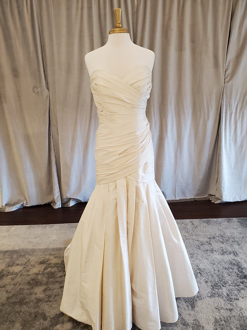 "Lea Ann Belter ""Candice"" Ruched silk mermaid gown with sweetheart neckline"