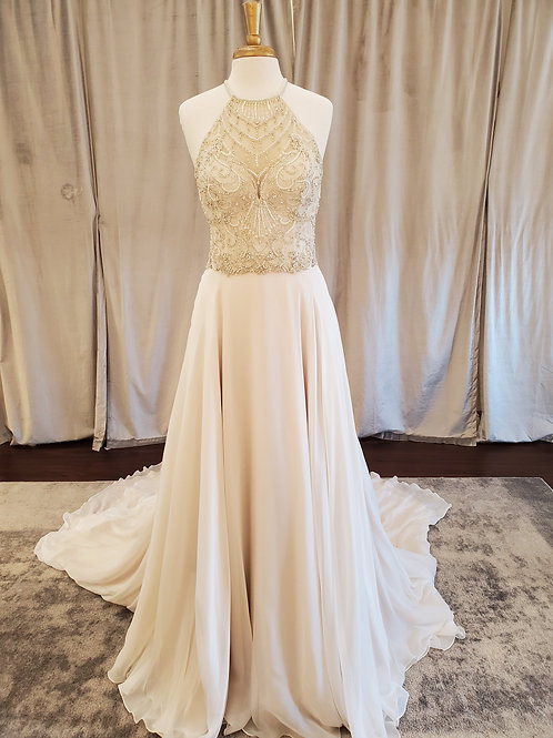 Justin Alexander Signature #9875 Two-Piece A-line with beaded halter top