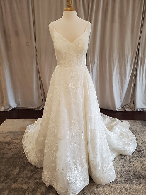 """Kelly Faetanini """"Willow"""" A-line gown with embroidered lace detail"""