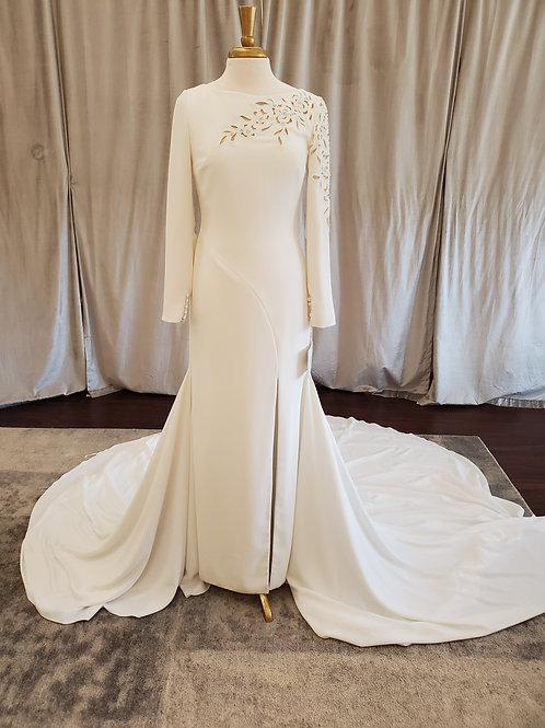 "Pronovias ""Draque"" dramatic long sleeve crepe gown"