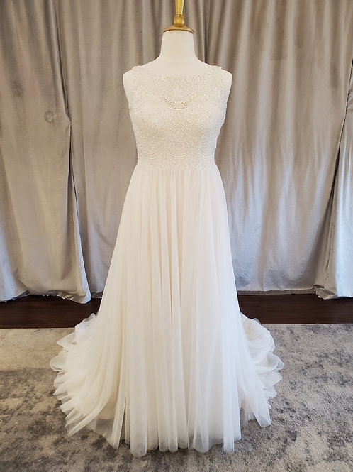 Kenneth Winston #1804 Flowy A-line gown with beaded lace top