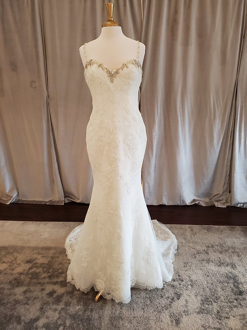 "Pronovias ""Marisela"" beaded lace sheath with low back"