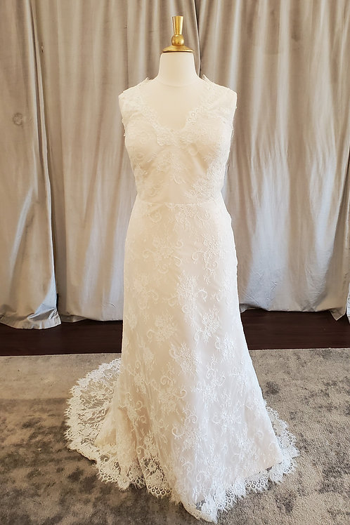 """""""Skylar"""" all-over lace sheath gown"""