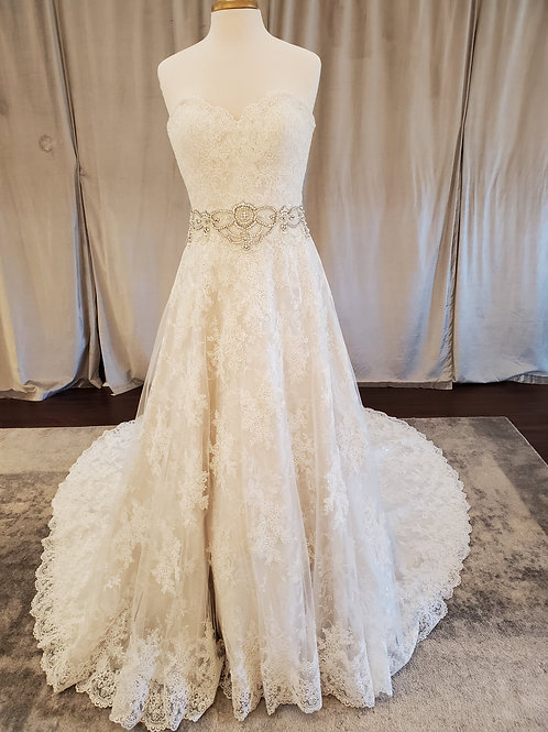 Justin Alexander Signature #9764 A-line with sequin lace and beaded waist