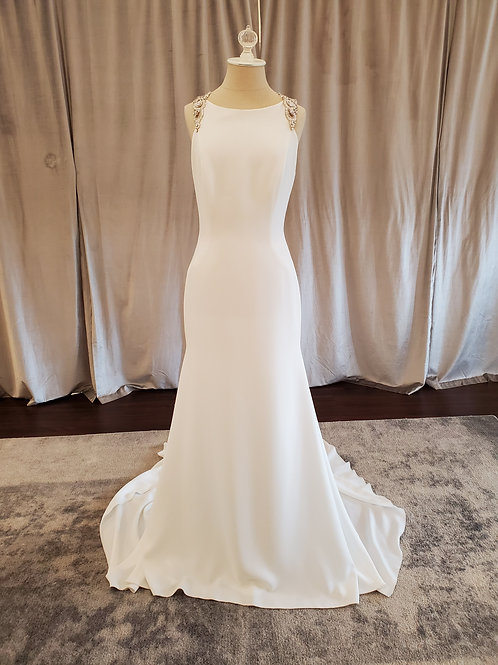 "Atelier Pronovias ""Emmett"" crepe Monique sheath with crystal back"