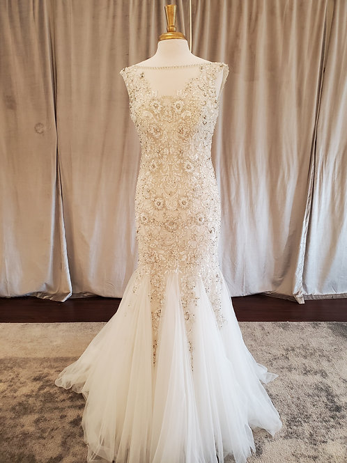 Eddy K #MD157ST beaded lace mermaid with illusion neck