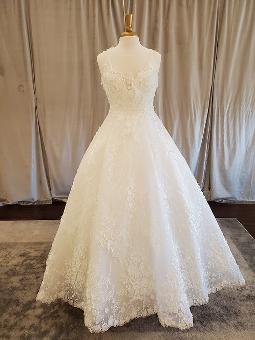Paula Varsalona #9700X ballgown with 3D floral detail