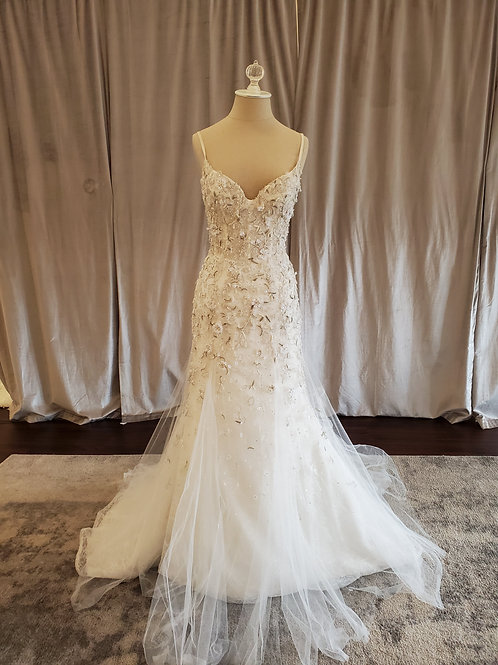 "Anne Barge ""Gwendolyn"" Beaded fit and flare gown with spaghetti straps"