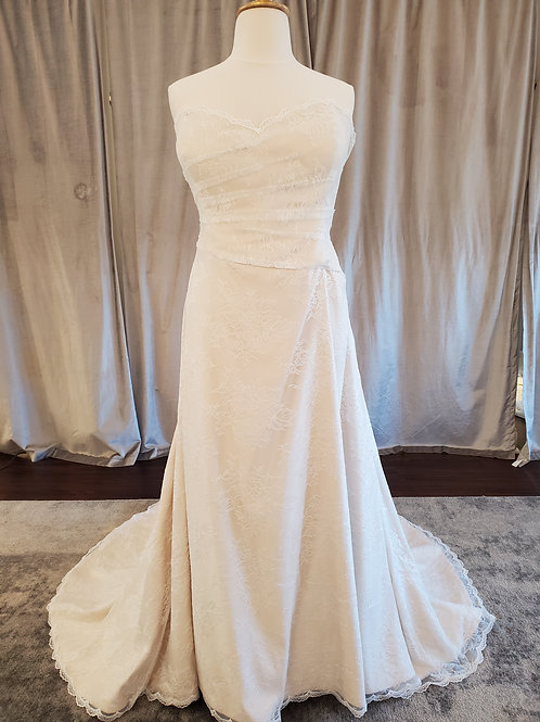 """""""Ramona"""" allover lace strapless A-Line gown"""