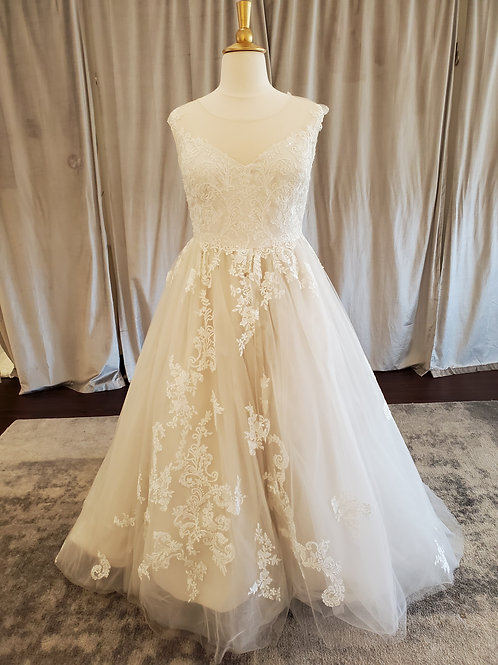 #83077 lace ballgown with illusion neckline