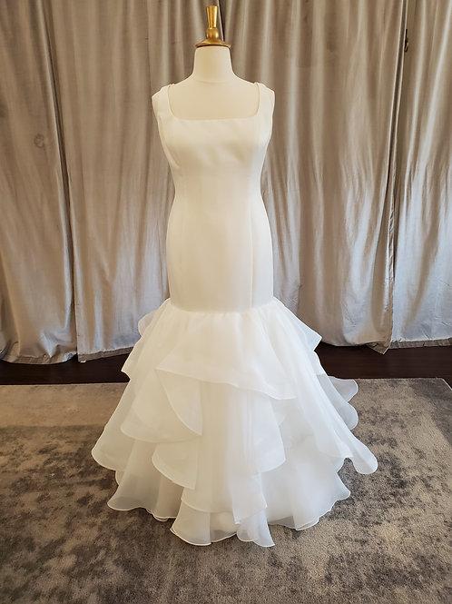 """Isha"" mermaid gown with ruffled skirt"