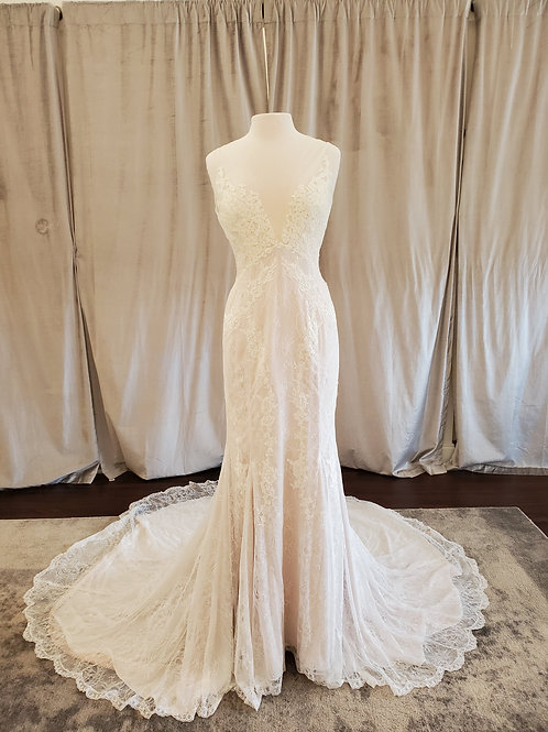 "Alyne by Rita Vinieris ""Everly"" gown with all-over lace and deep v-neckline"