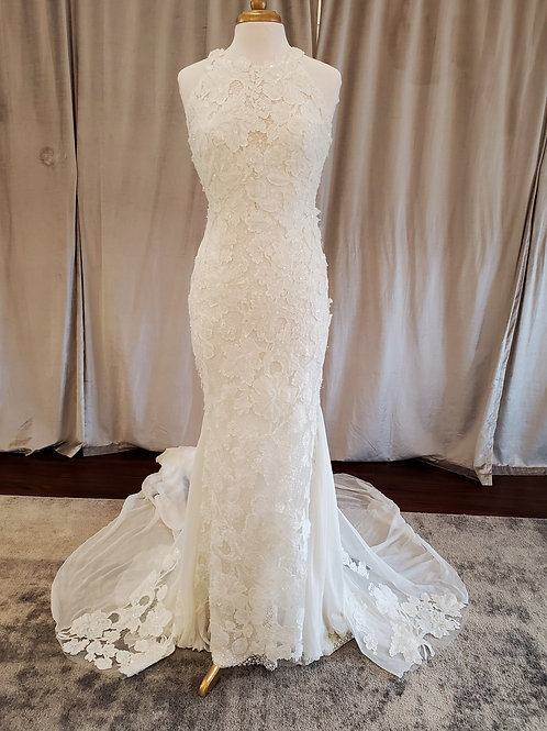 "Atelier Pronovias ""Raisel"" fitted lace gown with plunging illusion back"