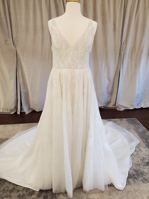 """Enaura """"Beau"""" V-Neck fully beaded A-Line gown"""