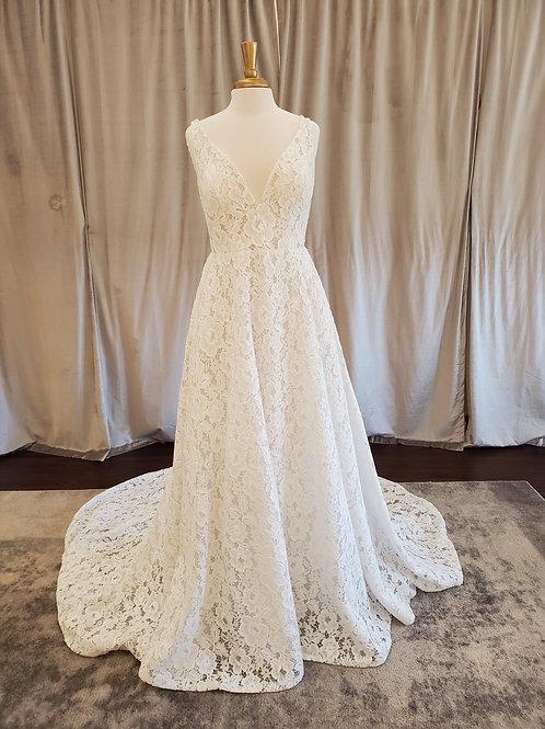 "Pronovias ""Einat"" V-neck all-over lace A-line gown"