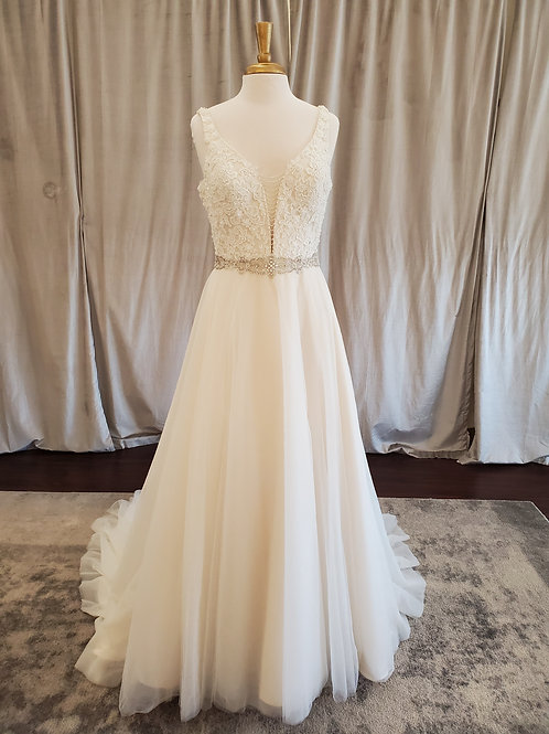 Ella Rosa #BE358 V-Neck A-Line with lace top and beaded belt
