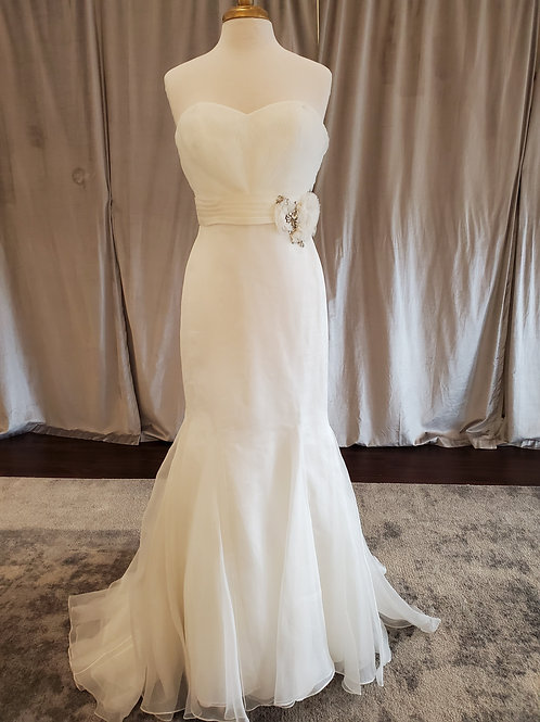 """Anne Barge """"Firebird"""" fitted organza gown with flower accent"""