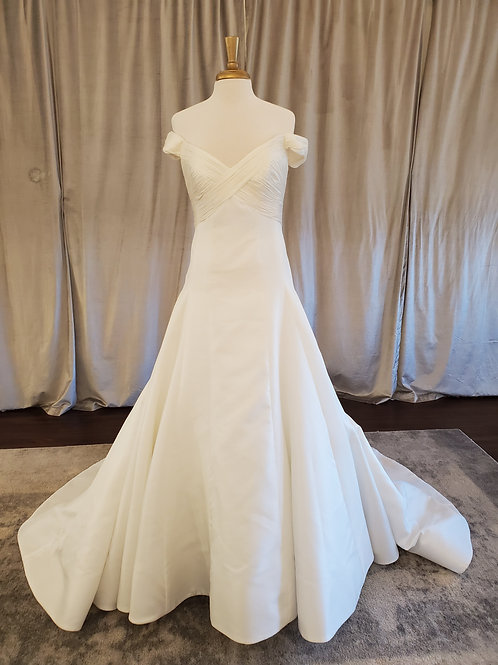 """Anne Barge """"Reid"""" off-the-shoulder modified A-line gown"""