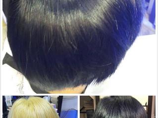 (Dark blue color) Goldwell color with MILBON Bleach