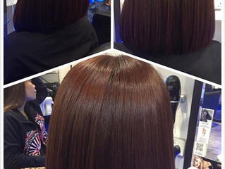 Shoulder length hair style with copper coloring