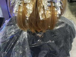"""Highlight with foil """"Ash Blond with Ash Brown"""" with Joico bleach and Goldwell color."""