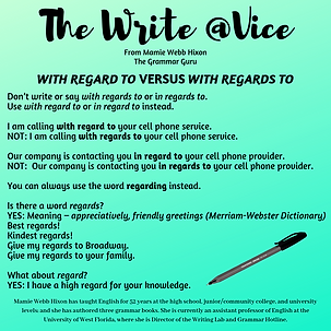 The Write @Vice - With Regard To vs. Wit