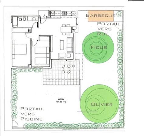 plan de l'appartement et du jardin
