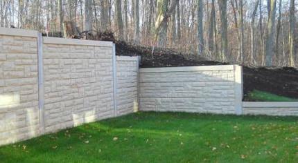 Noise wall installation stone wall photo