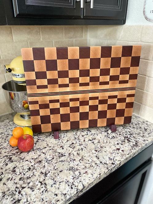 End grain vortex cutting board