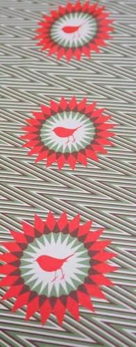 Christmas Wrapping Paper with Robin Pattern