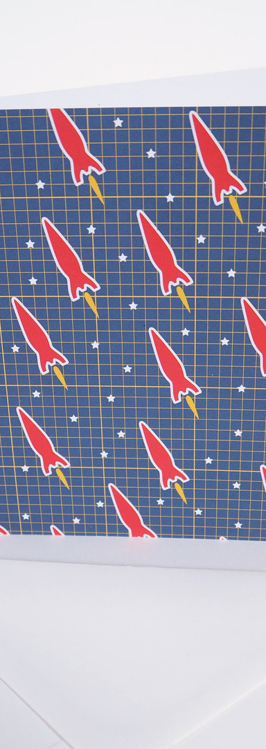 Greeting Card with Red Space Rocket Pattern