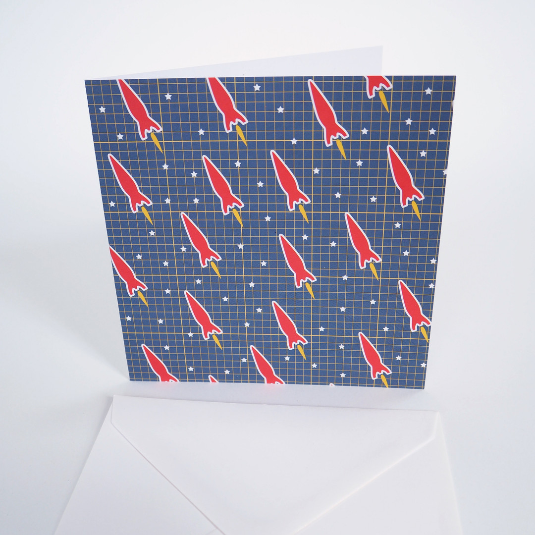 Bright Stem Greeting Card Red Space Rockets