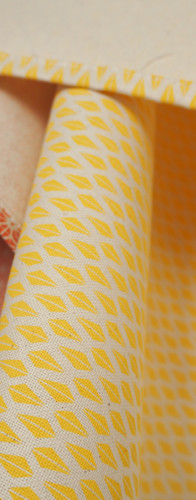 Tea Towels with Yellow Triangle Pattern