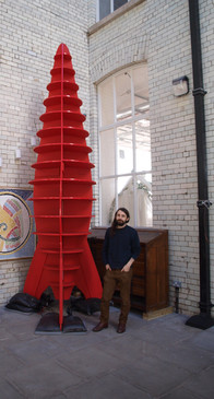 A Big Red Space Rocket - Bright Stems First Piece of Public Art