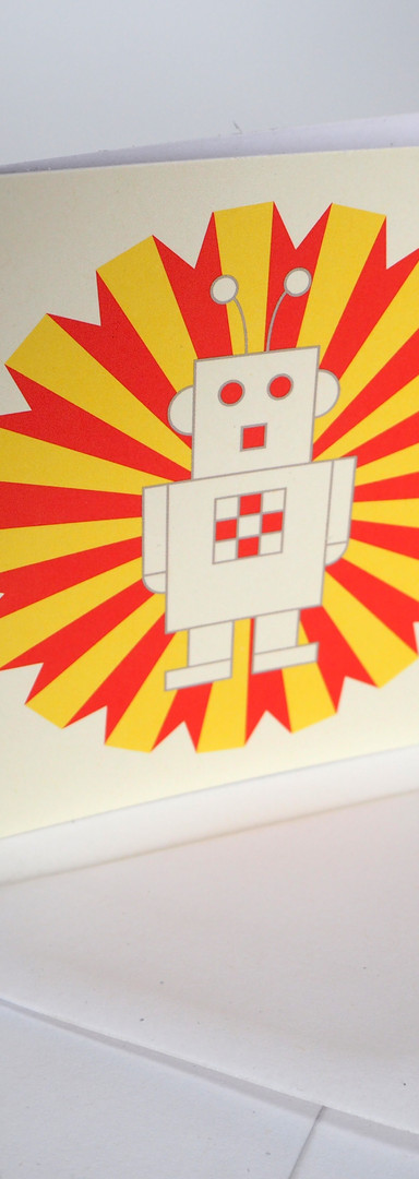 Vector Illustration of Ray the Robot on Notecard