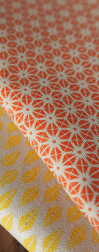 Yellow Triangle Pattern and Orange Star Pattern Tea Towels