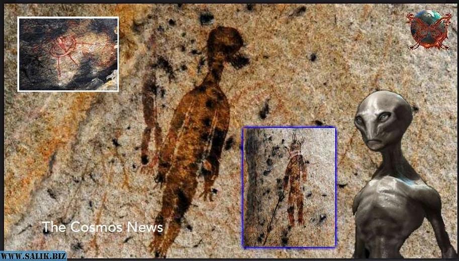Hindistan'ın Chhattisgarh eyaletindeki uzaylıları tasvir eden 10.000 yıllık kaya resimleri