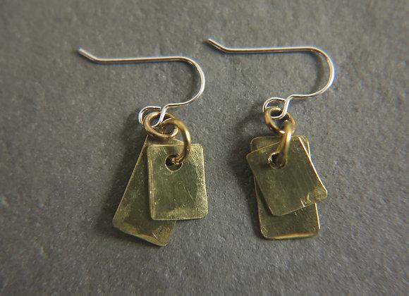 brass tag earrings