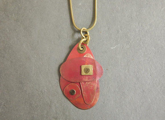 red patina riveted necklace