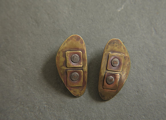 double riveted brass patina earrings