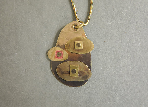 3 riveted brass necklace